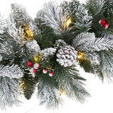 6' Flocked Mixed Pine Artificial Christmas Garland with 50 LED Lights, Pine Cones and Berries