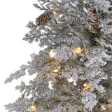 6' Flocked Montana Down Swept Spruce Artificial Christmas Tree with 250 Clear LED Lights