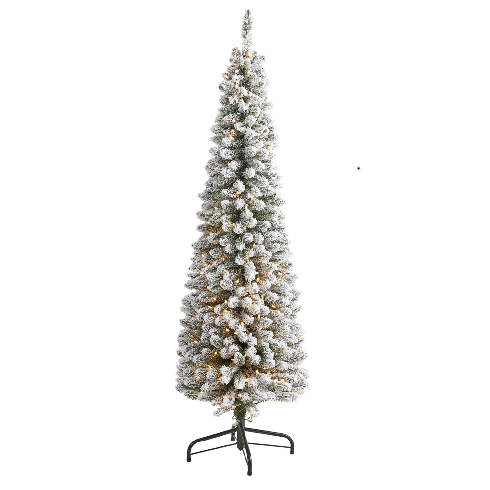 6' Flocked Pencil Artificial Christmas Tree with 300 Clear Lights and 438 Bendable Branches