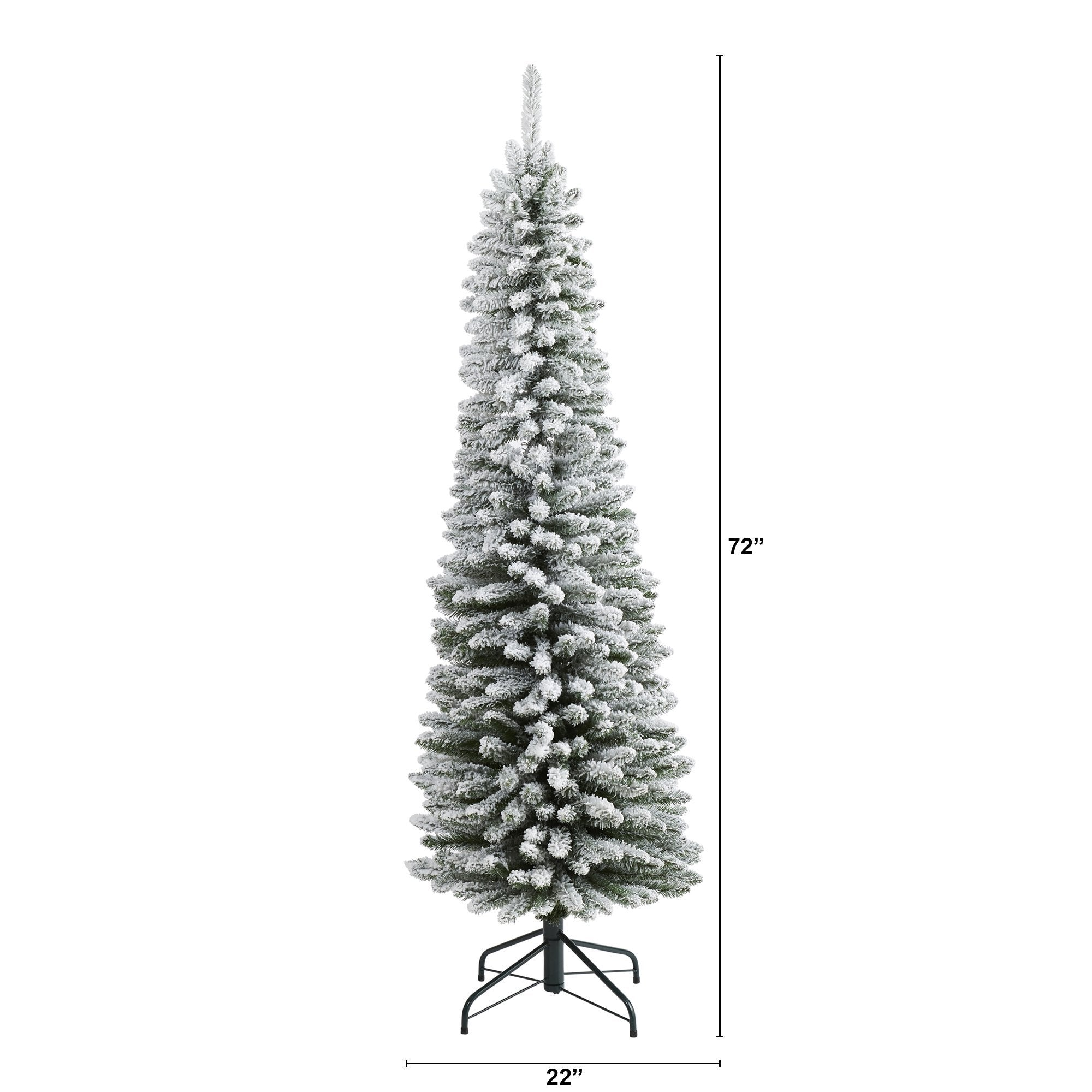 6 Flocked Pencil Artificial Christmas Tree With 438 Bendable Branches Nearly Natural