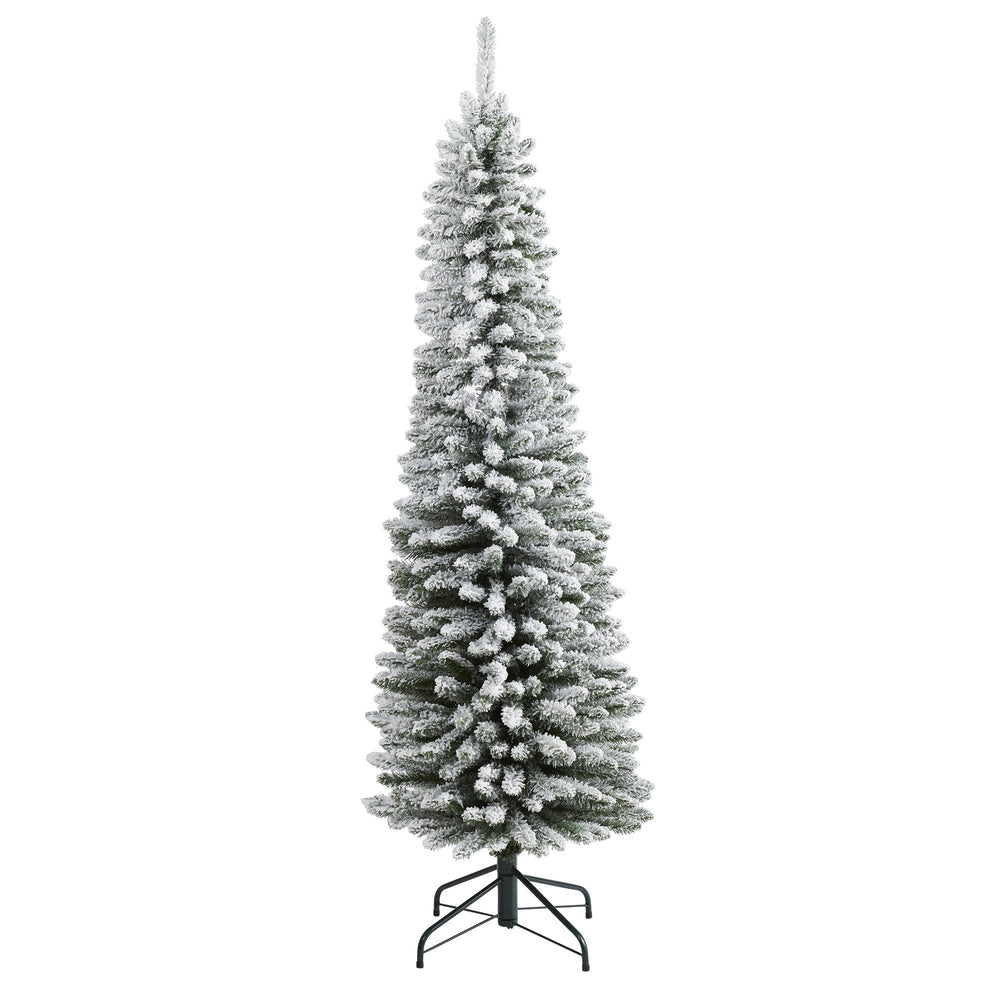 6' Flocked Pencil Artificial Christmas Tree with 438 Bendable Branches