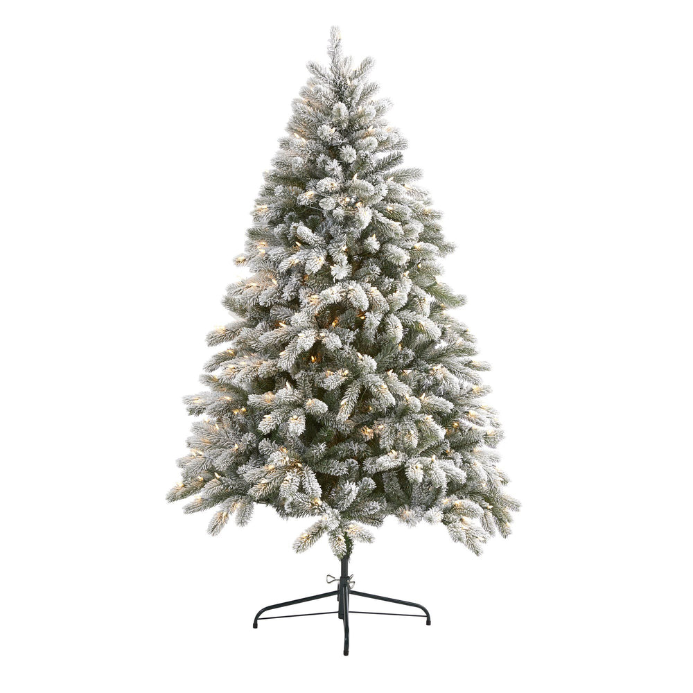 6' Flocked South Carolina Spruce Artificial Christmas Tree with 450 Clear Lights and 925 Bendable Branches
