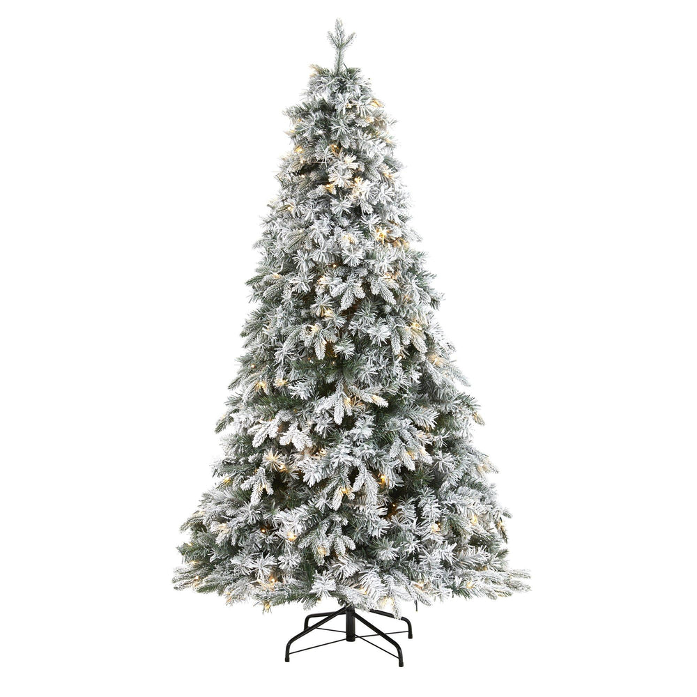 6' Flocked Vermont Mixed Pine Artificial Christmas Tree with 300 Clear LEDs Lights
