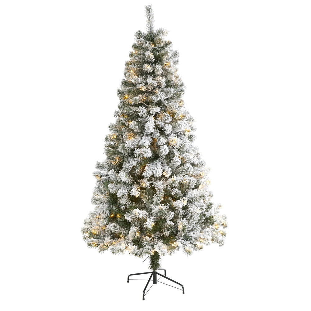 6' Flocked West Virginia Fir Artificial Christmas Tree with 250 Clear LED Lights