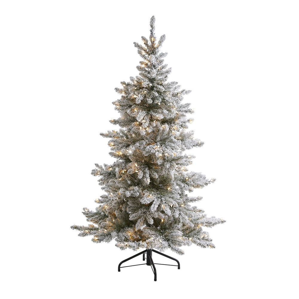 6' Flocked West Virginia Spruce Artificial Christmas Tree with 300 Clear Lights and 850 Bendable Branches