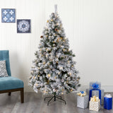 6' Flocked White River Mountain Pine Artificial Christmas Tree with Pinecones and 250 Clear LED Lights