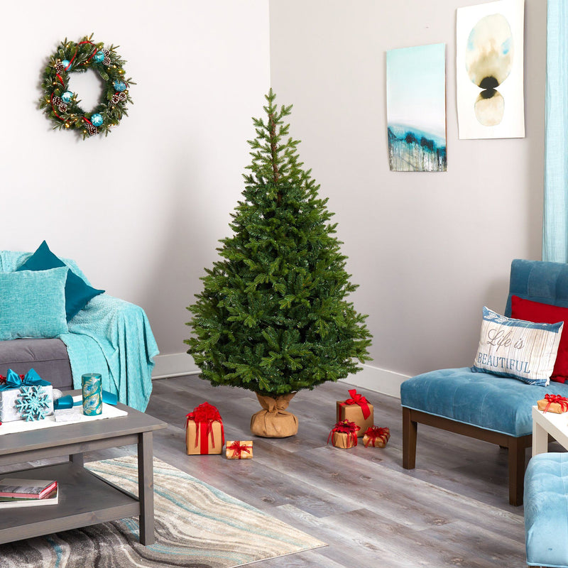 "6' Fraser Fir ""Natural Look"" Artificial Christmas Tree with 300 Clear LED Lights, a Burlap Base and 2113 Bendable Branches"