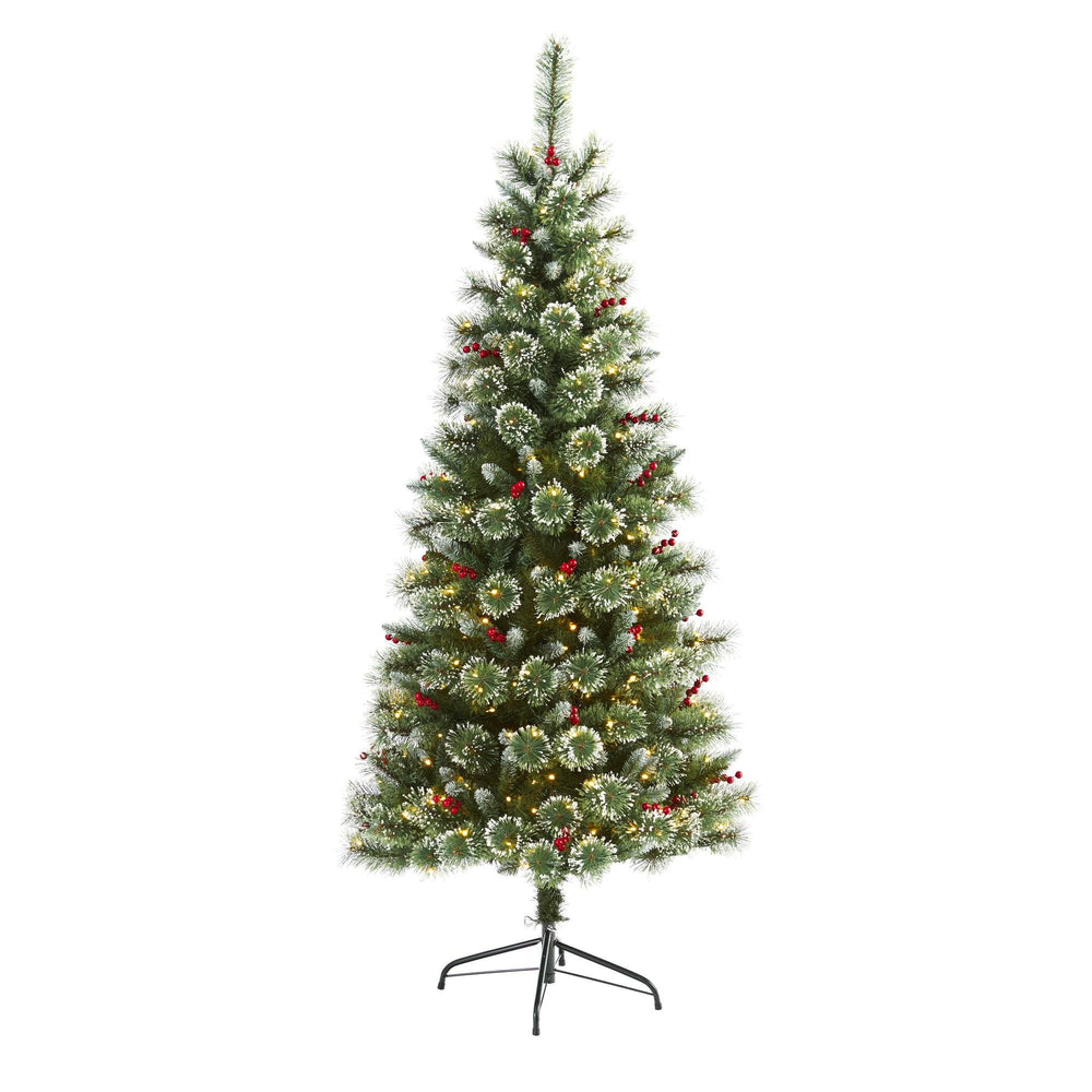 6' Frosted Swiss Pine Artificial Christmas Tree with 300 Clear LED Lights and Berries