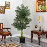 6' Golden Cane Artificial Palm Tree in Black Tin Planter