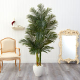 6' Golden Cane Artificial Palm Tree in White Planter