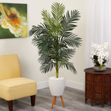 6' Golden Cane Artificial Palm Tree in White Planter with Stand