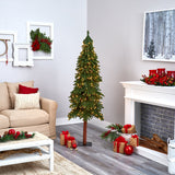 6' Grand Alpine Artificial Christmas Tree with 300 Clear Lights and 601 Branches on Natural Trunk