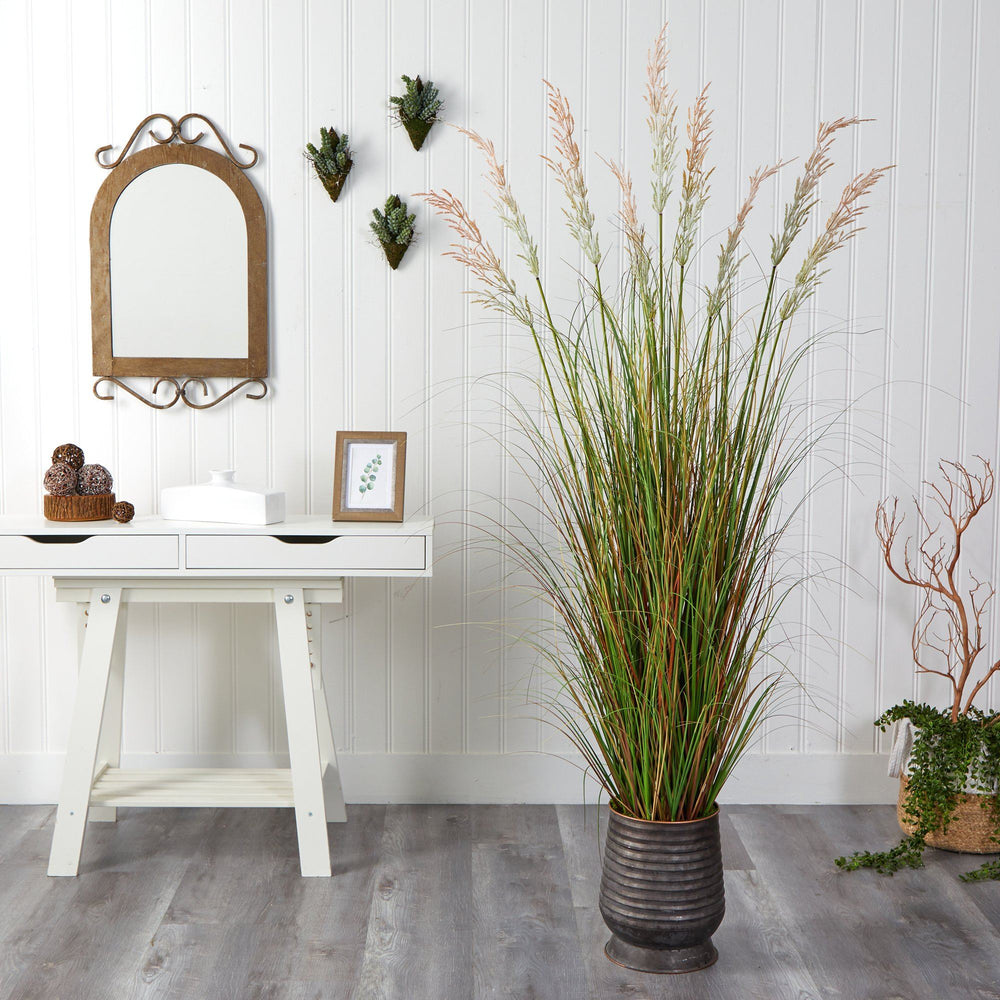 6' Grass Artificial Plant in Ribbed Metal Planter