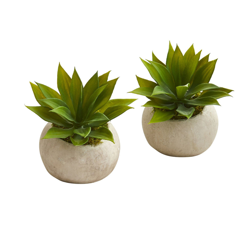 6 Mini Agave Succulent Artificial Plant In Stone Planter Set Of 2 Nearly Natural