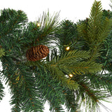 6' Mixed Pine and Pinecone Artificial Garland with 35 Clear LED Lights