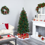 6' Mixed Pine Artificial Christmas Tree with 250 Clear LED Lights, Pine Cones and Berries