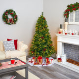 6' Montana Mixed Pine Artificial Christmas Tree with Pine Cones, Berries and 350 Clear LED Lights