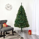 6' Northern Tip Pine Artificial Christmas Tree with 250 Clear LED Lights