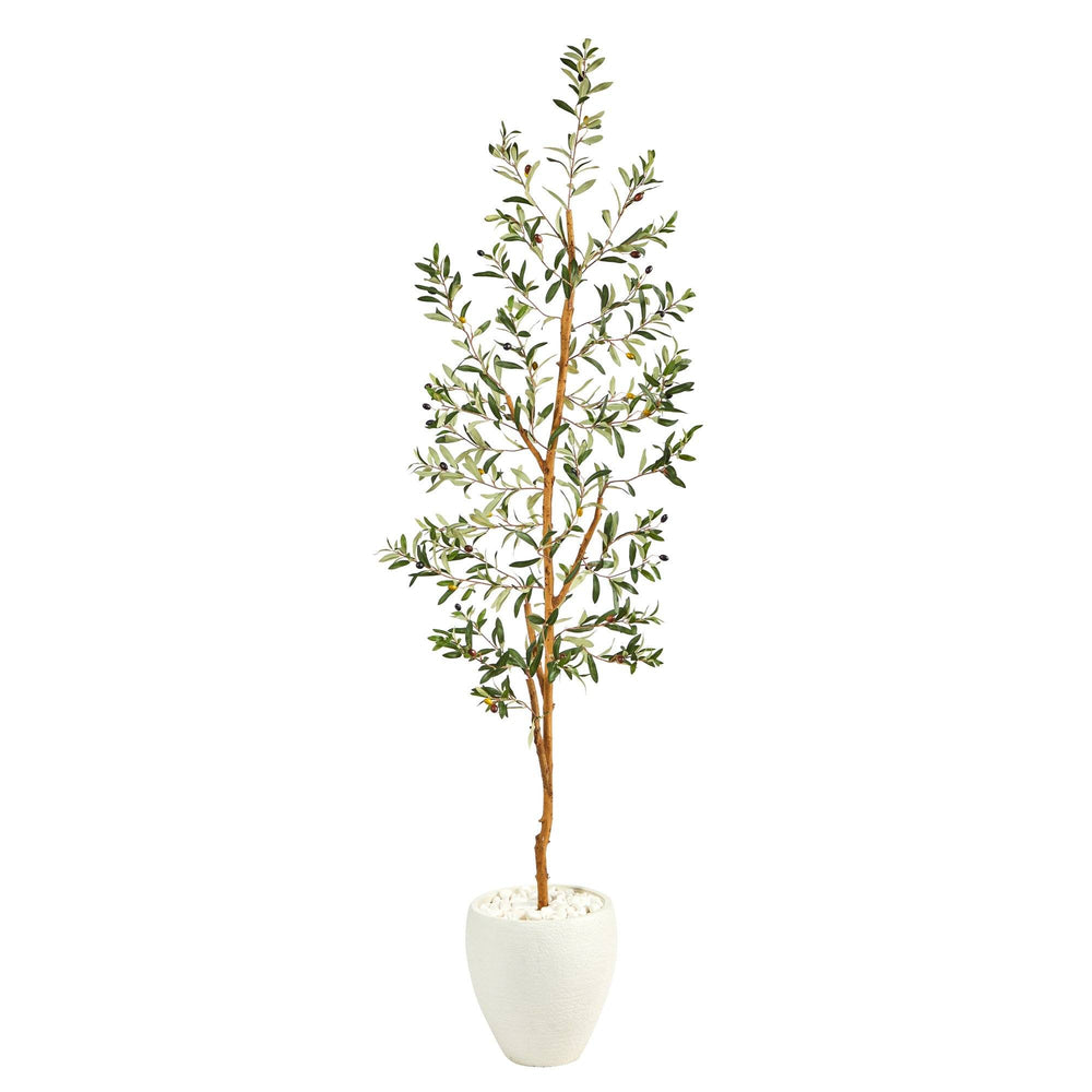 6' Olive Artificial Tree in White Planter