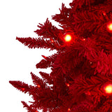 6' Red Flocked Fraser Fir Artificial Christmas Tree with 350 Red Lights, 33 Globe Bulbs and 748 Bendable Branches