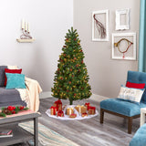 6' Rocky Mountain Spruce Artificial Christmas Tree with Pinecones and 250 Clear LED Lights