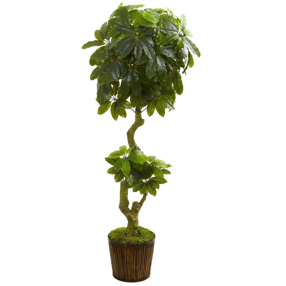 6' Schefflera Artificial Tree in Bamboo Stick Basket UV Resistant (Indoor/Outdoor)