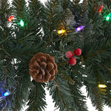 6' Snow Dusted Artificial Christmas Garland with 50 Multicolored LED Lights, Berries and Pinecones
