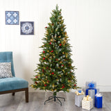 6' Snow Tipped Portland Spruce Artificial Christmas Tree with Frosted Berries and Pinecones with 300 Clear LED Lights