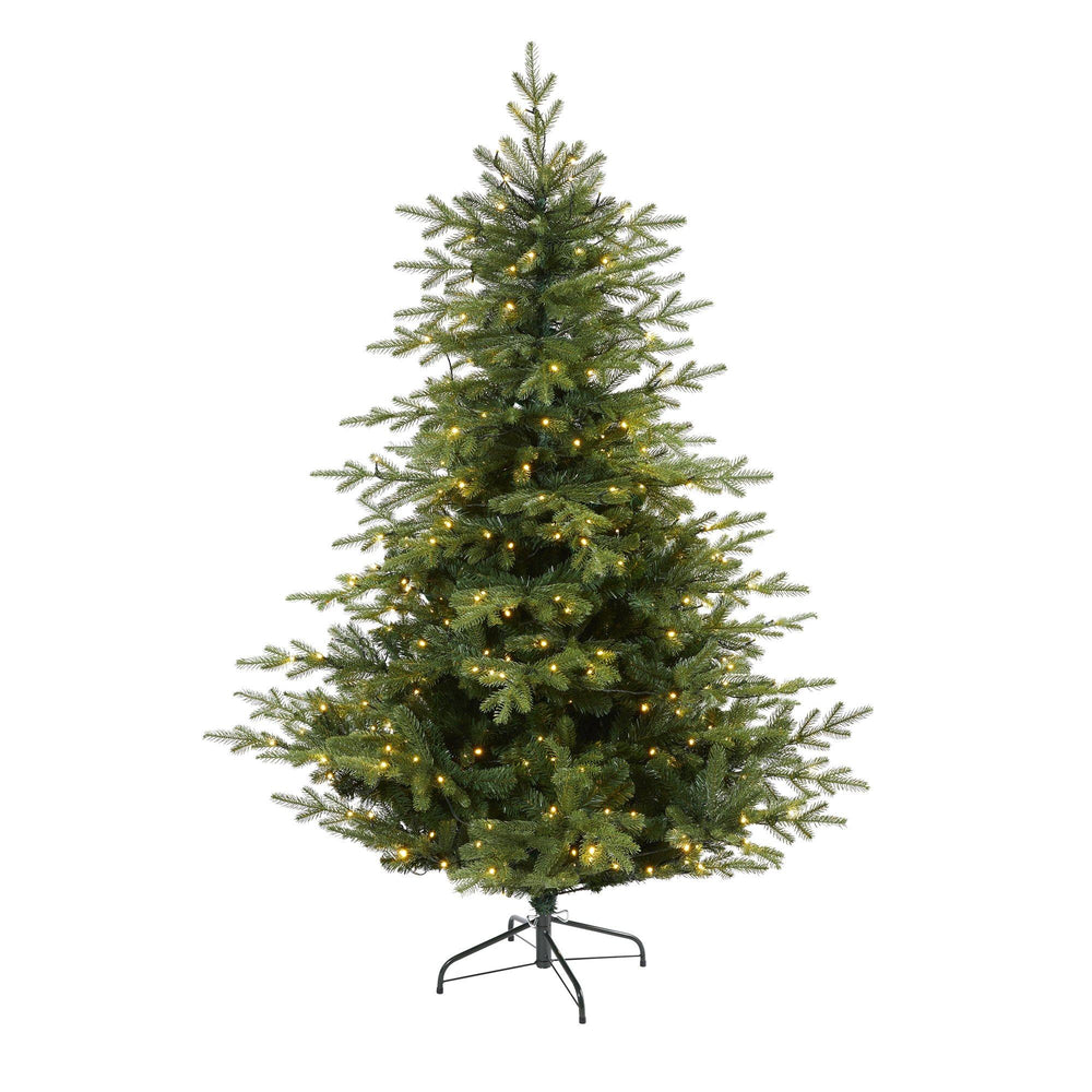6 Swedish Fir Artificial Christmas Tree With 350 Warm White Led Lights And 963 Bendable Branches Nearly Natural