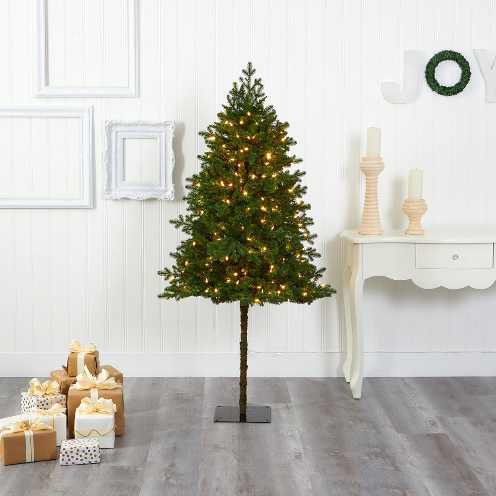 6' Swiss Alpine Artificial Christmas Tree with 250 Clear LED Lights and 450 Bendable Branches