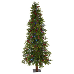 6' Victoria Fir Artificial Christmas Tree with 250 Multi-Color (Multifunction) LED Lights, Berries and 415 Bendable Branches