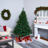 6' West Virginia Full Bodied Mixed Pine Artificial Christmas Tree with 300 Clear LED Lights and Pine Cones