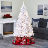 6' White Artificial Christmas Tree with 680 Bendable Branches and 250 Clear LED Lights