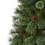 6' White Mountain Pine Artificial Christmas Tree with 300 Clear LED Lights and Pine Cones