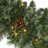 6' White Mountain Pine Artificial Garland with 35 White Warm LED Lights and  Pinecones
