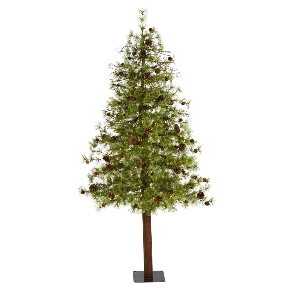 6' Wyoming Alpine Artificial Christmas Tree with 150 Clear (multifunction) LED Lights and Pine Cones on Natural Trunk