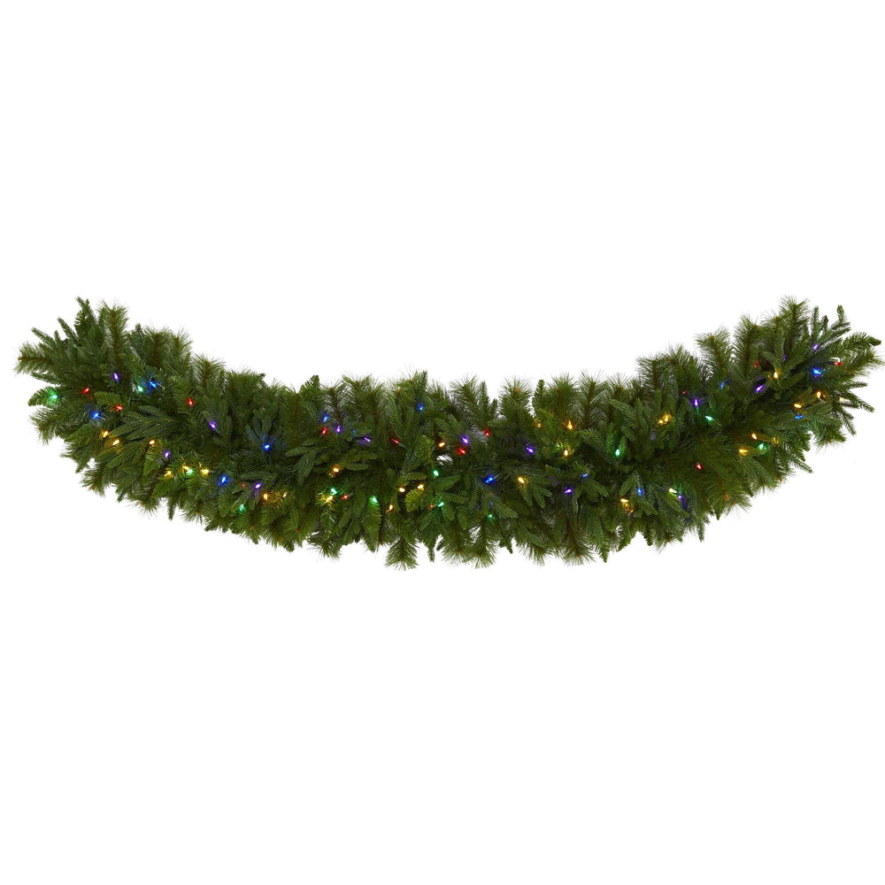 "6' x 18"" Christmas Pine Extra Wide Artificial Garland with 100 Multicolored LED Lights"