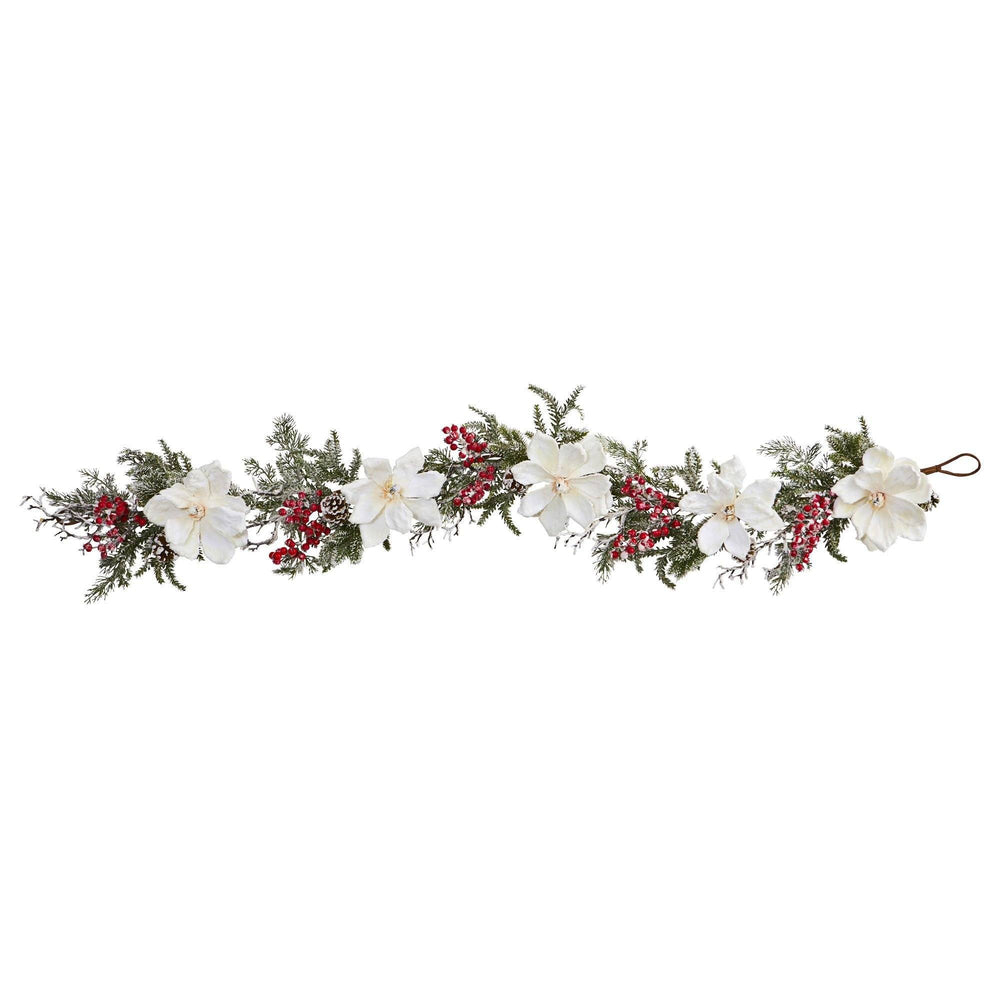 "60"" Frosted Magnolia & Berry Artificial Garland"