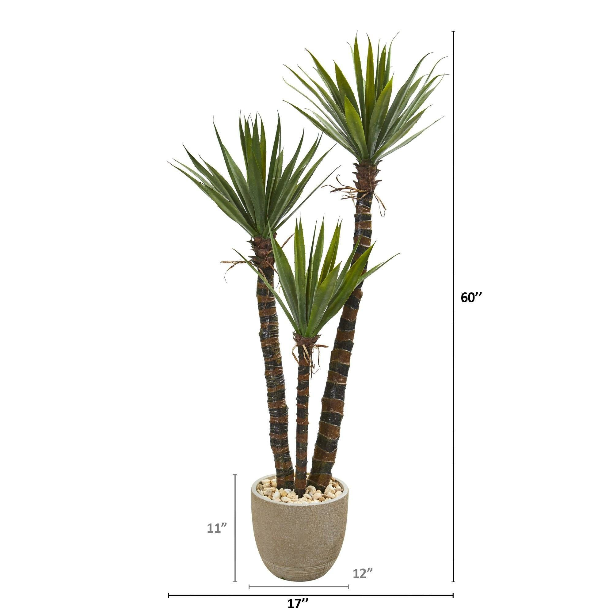 60 Yucca Artificial Tree In Sandstone Planter Nearly Natural