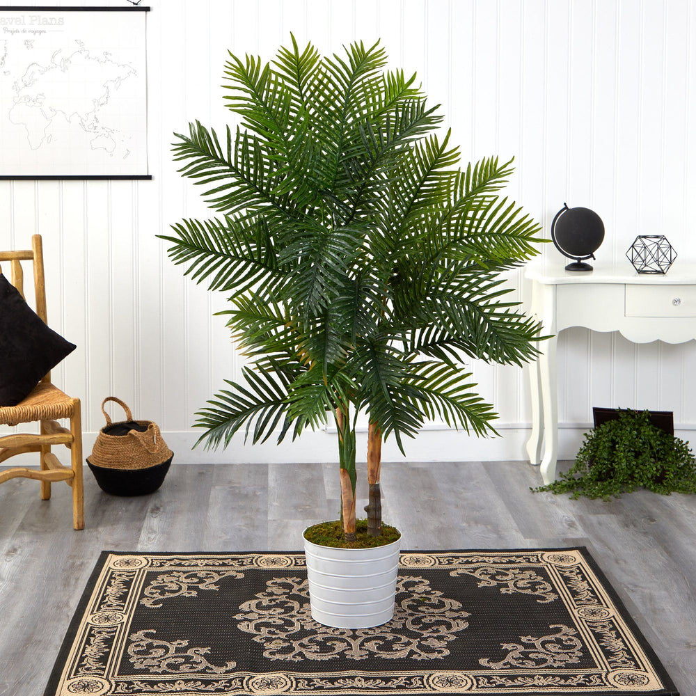 "62"" Areca Palm Artificial Tree in White Tin Planter (Real Touch)"