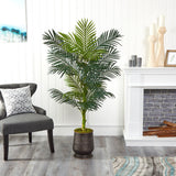 "62"" Golden Cane Artificial Palm Tree in Ribbed Metal Planter"