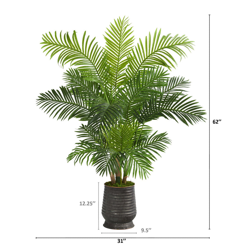 "62"" Hawaii Palm Artificial Tree in Ribbed Metal Planter"