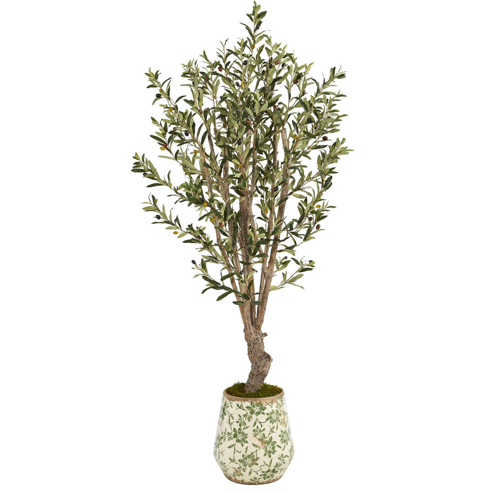 "62"" Olive Artificial Tree in Floral Print Planter"