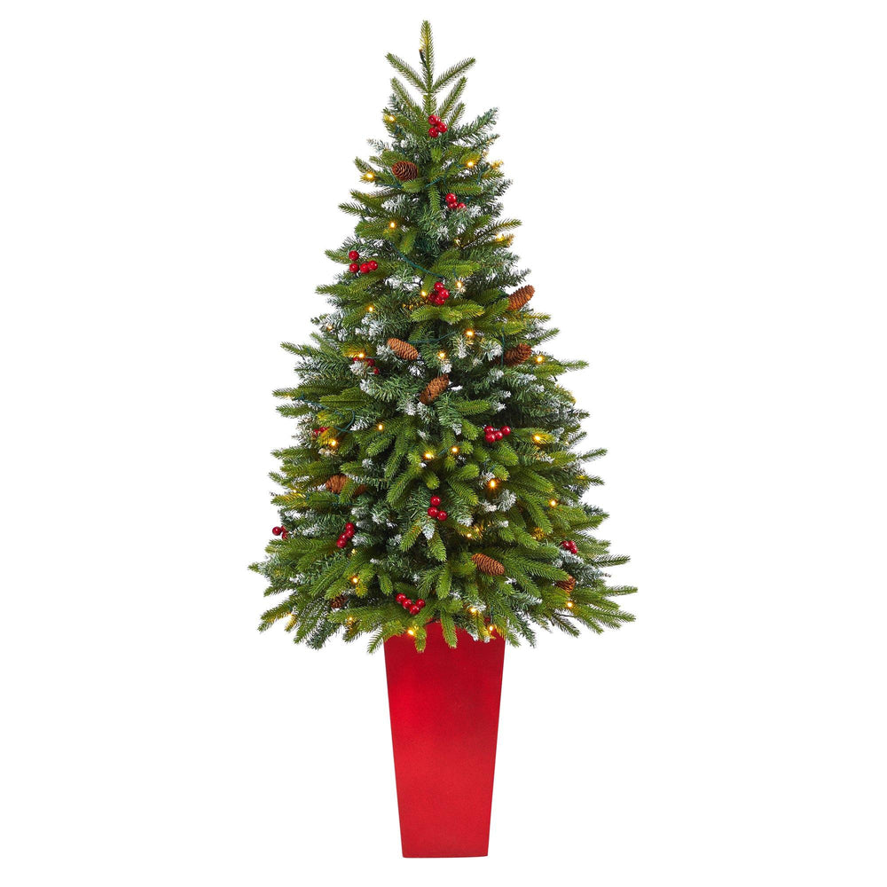 "62"" Snow Tipped Portland Spruce Artificial Christmas Tree with Frosted Berries and Pinecones with 100 Clear LED Lights in Red Tower Planter"