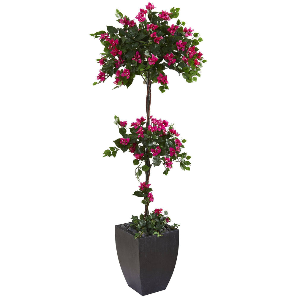 "63"" Bougainvillea Artificial Topiary Tree in Black Planter"
