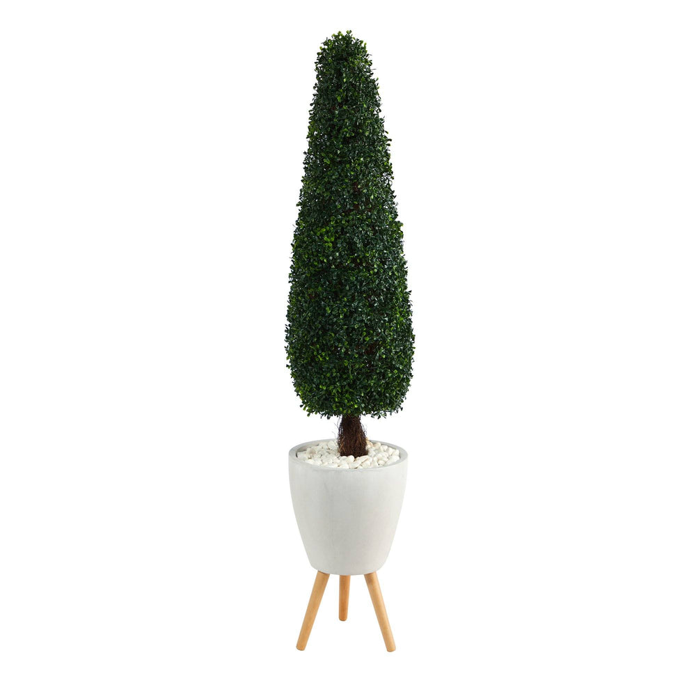 "63"" Boxwood Topiary Artificial Tree in White Planter with Stand UV Resistant (Indoor/Outdoor)"