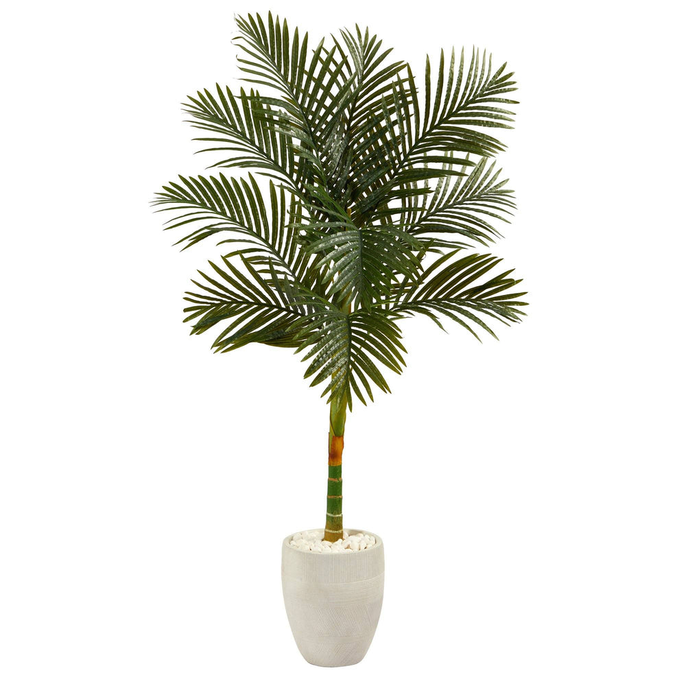 "63"" Golden Cane Artificial Palm Tree in White Planter"