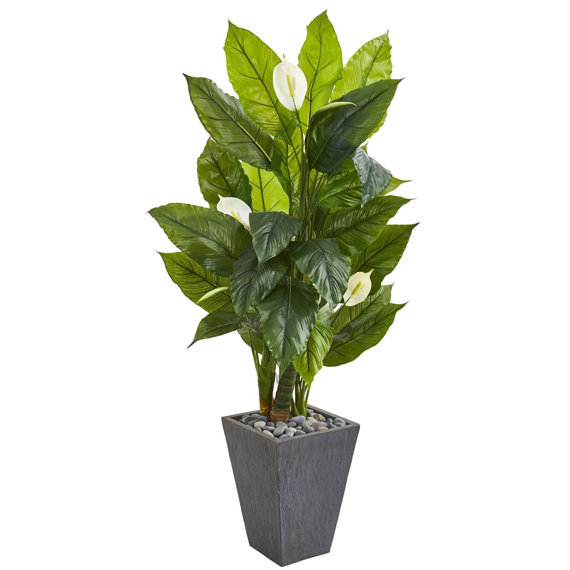 63 Spathyfillum Artificial Plant In Slate Planter Real Touch Nearly Natural