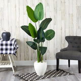 "63"" Traveler's Palm Artificial tree in White Planter"