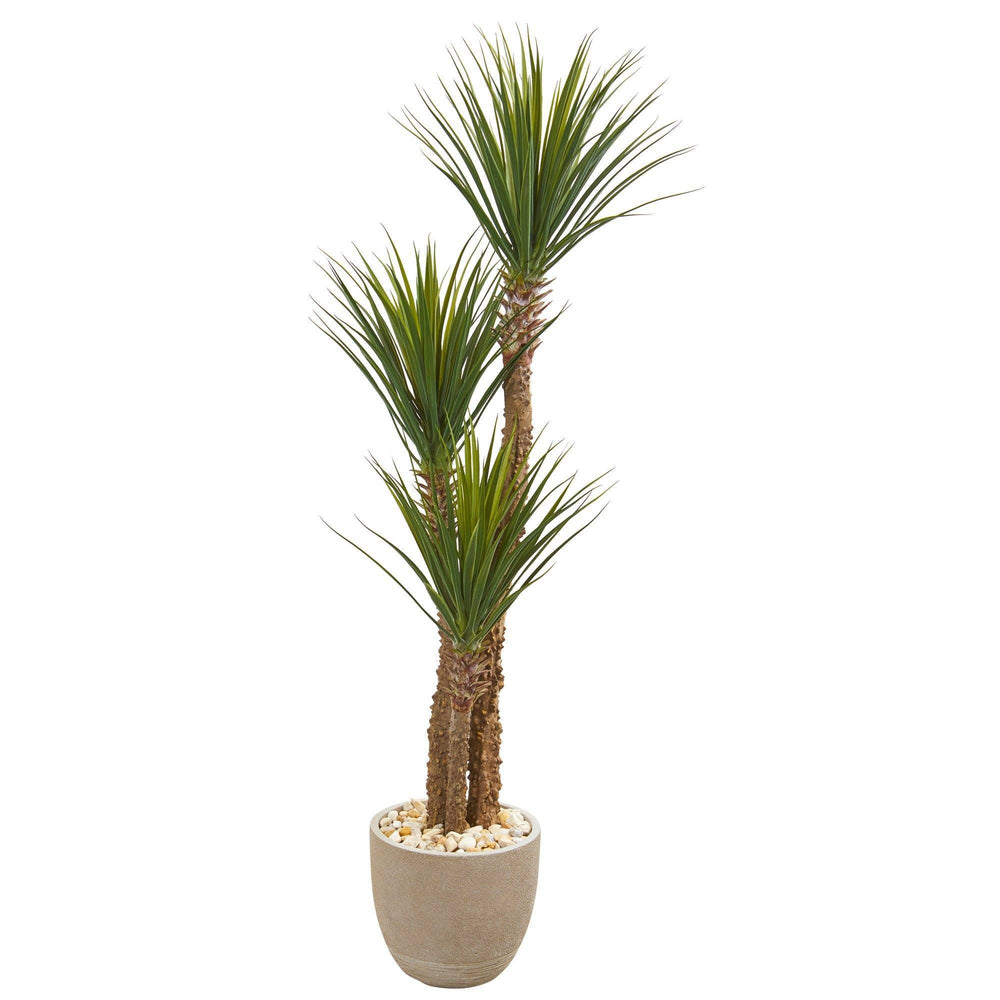 63 Yucca Artificial Tree In Sandstone Planter Nearly Natural